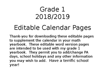 Grade 1 Calendar Editable Pages 2017/2018