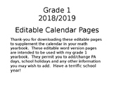 Grade 1 Calendar Editable Pages 2018/2019 Update