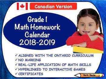 Grade 1 Canadian Mathematics Homework Calendar 2018-2019