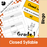 Closed Syllable Bingo Game Grade 1