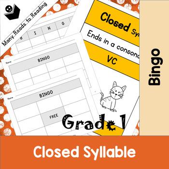 Grade 1 Closed Syllable Pattern Bingo Game
