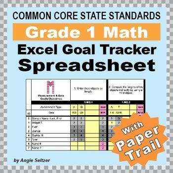 Grade 1 Common Core Math EXCEL Goal Tracker Spreadsheet wi