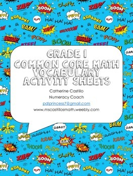 Grade 1 Common Core Math Vocabulary Organizer Comic Activity Sheets