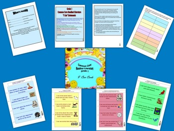 """Common Core,  Reading/Literature, """"I Can,"""" Cards for Grade 1"""