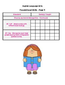 Grade 1 Common Core Yearly Checklist