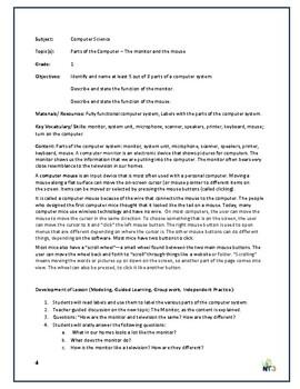 Grade 1 Computer Studies Lesson Plans on Parts of a Computer