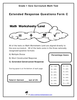 Grade 1 Core Aligned Math Test - Extended Response Questions