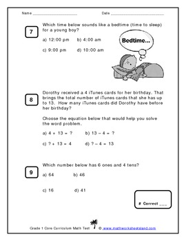 Grade 1 Core Curriculum Math Test - Multiple Choice Format