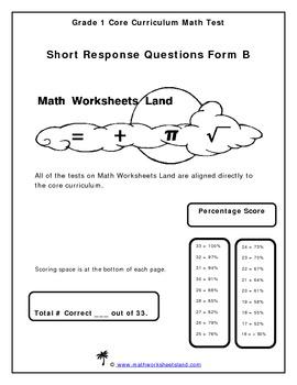 Grade 1 Core Curriculum Math Test - Short Response Questions