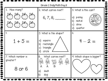 Grade 1 Daily Math Days 1-5 Freebie