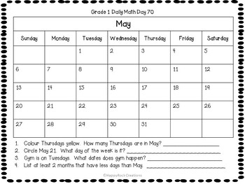 Grade 1 Daily Math Days 61-80