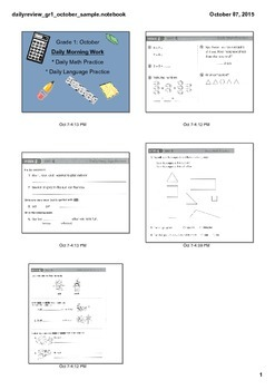Grade 1 Daily Morning Work: Math & Language Arts (October)