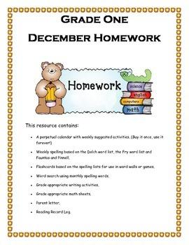 Grade 1 December Homework Calendar