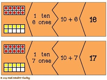 Grade 1 - Decomposing Numbers 10-20 Match Game
