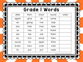 Sight Word Work Grade 1