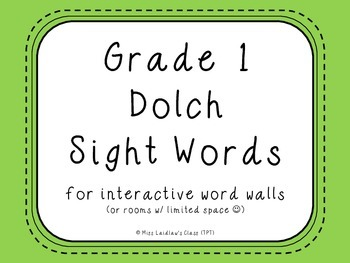 Grade 1 Dolch Sight Words {Green} - for word walls and games