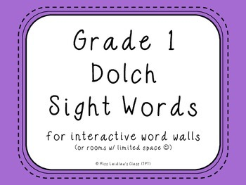 Grade 1 Dolch Sight Words {Purple} - for word walls and games