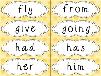 Grade 1 Dolch Sight Words {Yellow Dots} - for word walls and games