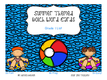 Grade 1 Dolch Word Game - Summer Themed