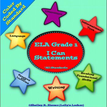 """Grade 1 ELA """"I Can"""" Statements"""