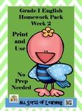 Grade 1 English Homework Pack Week 2