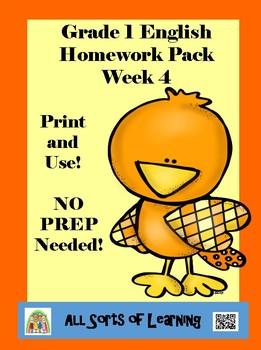 Grade 1 English Homework Pack Week 4