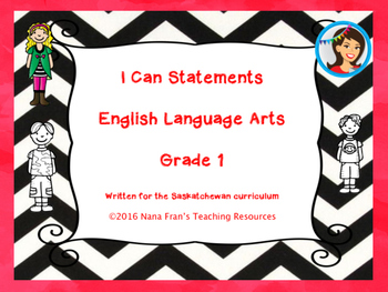 Grade 1 English Language Arts I Can Statement Posters
