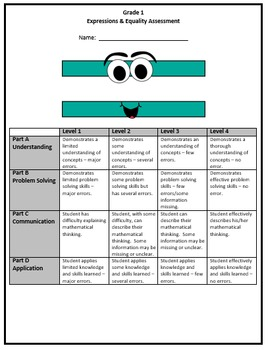 Grade 1 Expressions & Equality Assessment