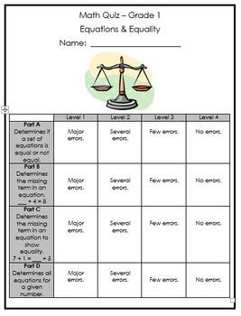 Grade 1 Expressions & Equality Quiz