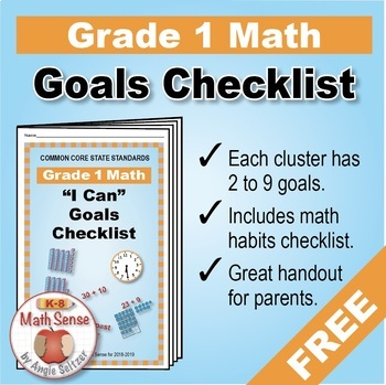 Grade 1 FREE Checklist of Math Goals for Common Core