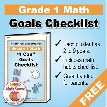 Grade 1 FREE Checklist of Math Goals for Common Core