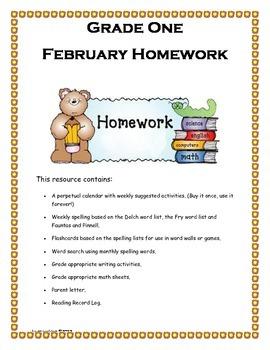 Grade 1 February Homework Calendar