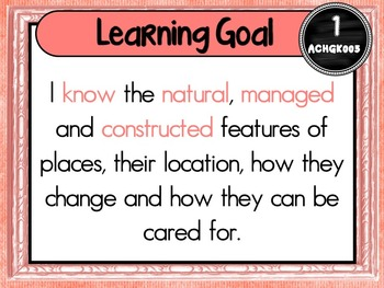 Grade 1 Geography – Aus curric Learning Goals & Success Criteria Posters.