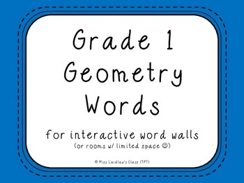 Grade 1 Geometry (Ontario) Word Wall Words {Blue} - for wo