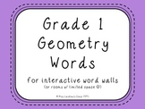 Grade 1 Geometry (Ontario) Word Wall Words {Purple} - for