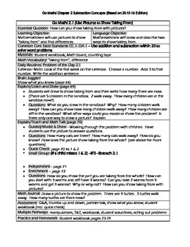 Grade 1 Go Math! Chap 2 Lesson Plans (Based on School Year 2015-16 Edition)