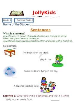 Grade 1  Grammar: Sentences