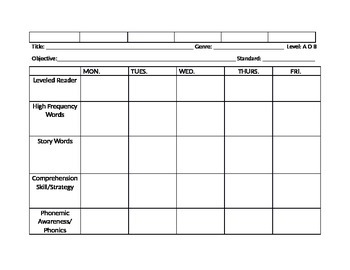 Grade 1 Guided Reading Template