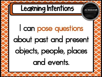 Grade 1 HASS – Aus curric Learning Intentions & Success Criteria Posters.