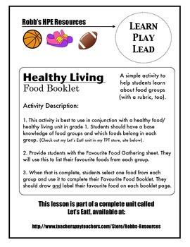 Healthy Food Booklet Activity Grade 1