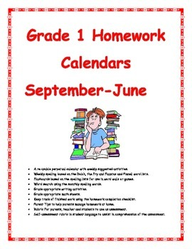 Grade 1 Homework Calendar September to June