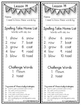 Grade 1 Weekly Spelling Lists aligned with 2011, 2014 and 2017 HMH Journeys