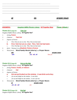 Grade 1 Houghton Mifflin Theme 1 Phonics Library Worksheets