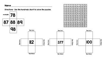 Grade 1 Hundreds Chart Fill In