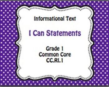 Grade 1 I Can Statements ELA and Math Bundle