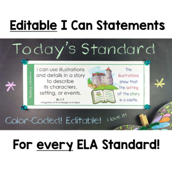 Common Core Standards I Can Statements for 1st Grade Bundle