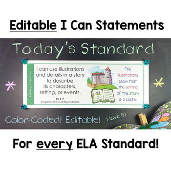 Common Core Standards I Can Statements for 1st Grade ELA - Half Page
