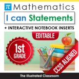 Common Core Standards I Can Statements for 1st Grade Math - Half Page