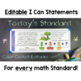 Common Core Standards I Can Statements for 1st Grade Math