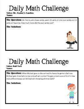 Videos: Intermediate Addition & Subtraction Word Problems Pack 1